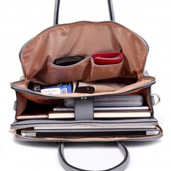 3fbea84a4e87 LT1726 GY - Miss Lulu strukturiertem PU Leder mittlerer Größe klassische  Tasche Schultertasche grau