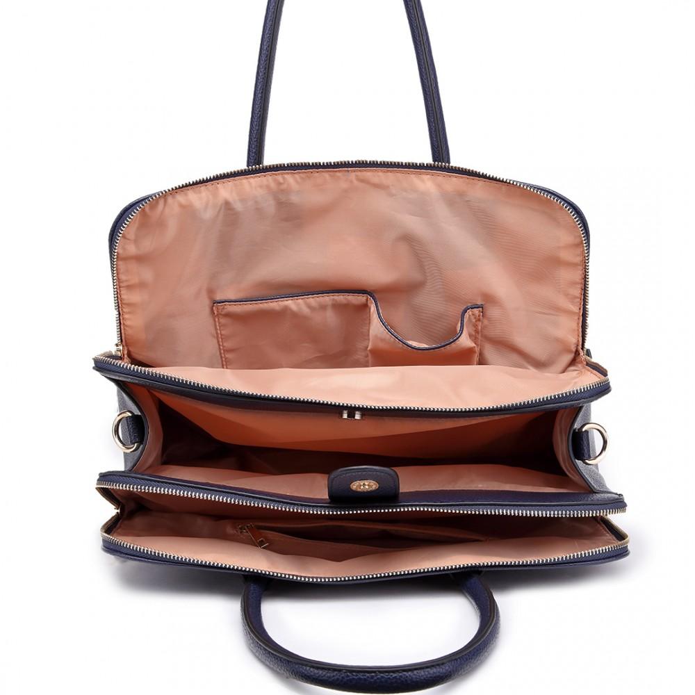 acdb8fca8f25 LT1726 NY - Miss Lulu Textured PU Leather Medium Size Classic Tote Bag  Shoulder Bag Navy