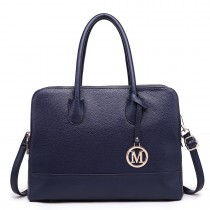 LT1726 NY - Miss Lulu Textured PU Leather Medium Size Classic Tote Bag Shoulder Bag Navy