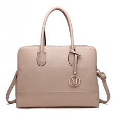 LT1726 TN - Miss Lulu Textured PU Leather Medium Size Classic Tote Bag Shoulder Bag Tan