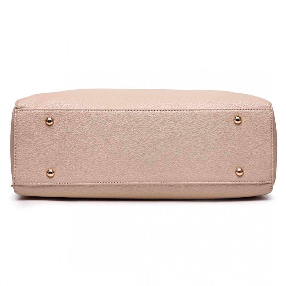 3e93657d9062 LT1726 TN - Miss Lulu Textured PU Leather Medium Size Classic Tote Bag  Shoulder Bag Tan