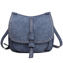 LT1727 - Miss Lulu Suede Effect Cross Body Saddle Bag Blue