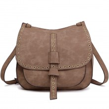 LT1727 - Miss Lulu Suede Effect Cross Body Saddle Bag Brown