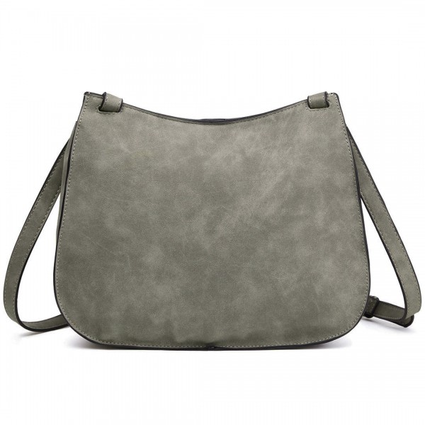 LT1727 - Miss Lulu Suede Effect Cross Body Saddle Bag Grey