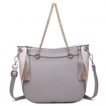 LT1728 - Miss Lulu Textured Leather Look Tassel Zip Detail Shoulder Bag Grey