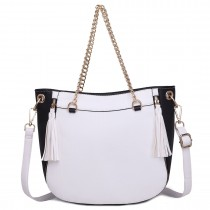 LT1728 - Miss Lulu Textured Leather Look Tassel Zip Detail Shoulder Bag White and Black