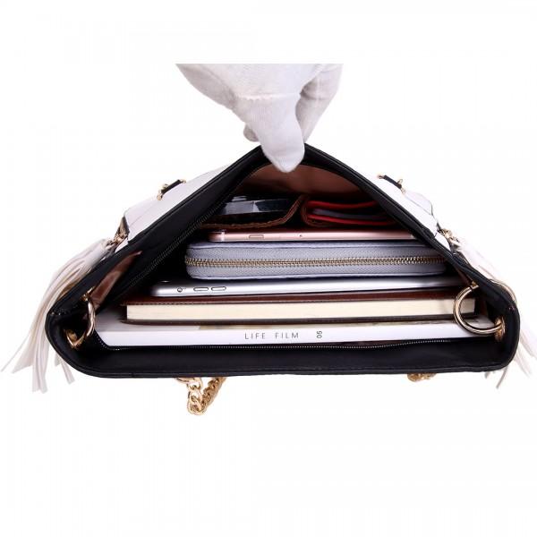 LT1728 - Miss Lulu Textured Leather Look Tassel Zip Detail Shoulder Bag White and Black