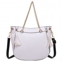 LT1728 - Miss Lulu Textured Leather Look Tassel Zip Detail Shoulder Bag White