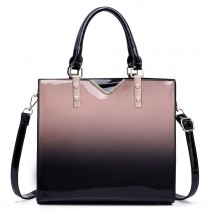 LT1734 - Miss Lulu Patent Leather Look Colour Fade Shoulder Bag Nude
