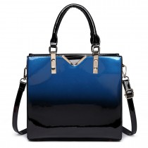 LT1734 - Miss Lulu Patent Leather Look Colour Fade Shoulder Bag Navy