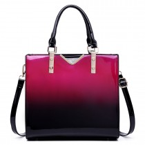 LT1734 - Miss Lulu Patent Leather Look Colour Fade Shoulder Bag Purple