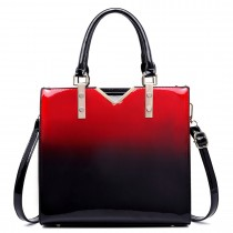 LT1734 - Miss Lulu Patent Leather Look Colour Fade Shoulder Bag Red