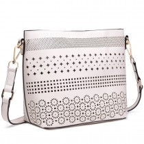 LT1735 - Miss Lulu Leather Look Laser Cut Out Shoulder Bag Beige