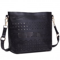 LT1735 - Miss Lulu Leather Look Laser Cut Out Shoulder Bag Black
