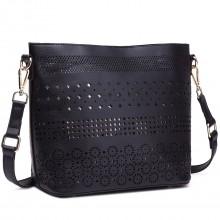 LT1735 - Miss Lulu Leather Look Laser Cut Out Shoulder Bag Black