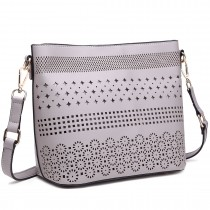 LT1735 - Miss Lulu Leather Look Laser Cut Out Shoulder Bag Grey