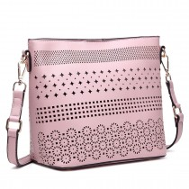 LT1735 - Miss Lulu Leather Look Laser Cut Out Shoulder Bag Pink