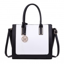 LT1736 - Miss Lulu Structured Work Shoulder Bag Black & White