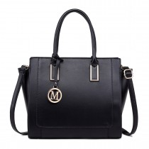 LT1736 - Miss Lulu Structured Work Shoulder Bag Black