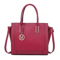 LT1736 - Miss Lulu Structured Work Shoulder Bag Burgundy