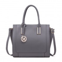 LT1736 - Miss Lulu Structured Work Shoulder Bag Grey