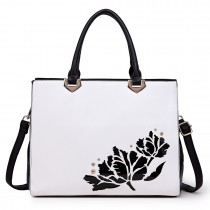 LT1738 - Miss Lulu Structured Work Shoulder Bag Black & White
