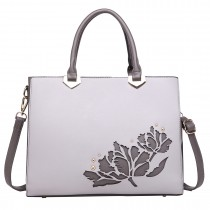 LT1738 - Miss Lulu Structured Work Shoulder Bag Grey