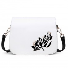 LT1739 - Miss Lulu Leather Look Cross Body Satchel Bag Black and White