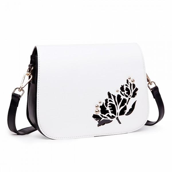LT1739 - Miss Lulu Leather Look Cross Body Satchel Bag Black and White