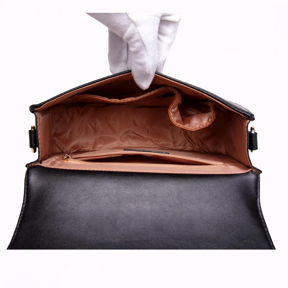 6af233b728 LT1739 - Miss Lulu Leather Look Cross Body Satchel Bag Black and White