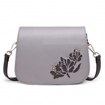LT1739 - Miss Lulu Leather Look Cross Body Satchel Bag Grey
