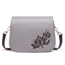 LT1739 - Miss Lulu Lederoptik Cross-Body Tasche Bag Grey
