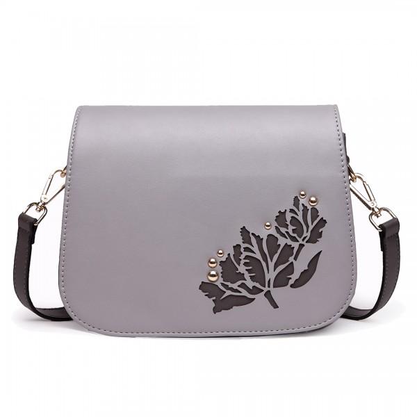 LT1739 - Miss Lulu Leather Look Cross Body Satchel Bag Grey