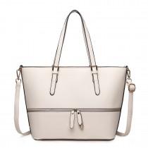 LT1740 BG - Miss Lulu Faux Leather Adjustable Handle Tote Bag Beige