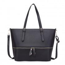LT1740 Black - Miss Lulu Faux Leather Adjustable Handle Tote Bag Black
