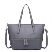 LT1740 GY - Miss Lulu Faux Leather Adjustable Handle Tote Bag Grey