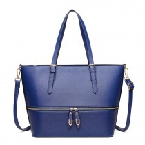 LT1740 NY - Miss Lulu Faux Leather Adjustable Handle Tote Bag Navy