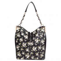 LT1741 BK - Miss Lulu Oilcloth Coated Canvas Shoulder Bag Black