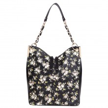 LT1741 BK - Miss Lulu Oilcloth Coated Canvas Shoulder Bag Black