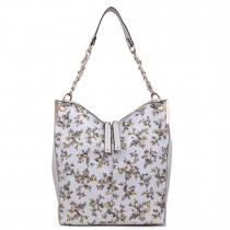 LT1741 GY- Miss Lulu Oilcloth Coated Canvas Shoulder Bag Grey