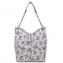 LT1741 GY- Miss Lulu Oilcloth Coated Canvas Shoulder Bag Grey