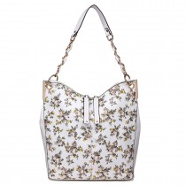 LT1741 WE - Miss Lulu Oilcloth Coated Canvas Shoulder Bag White