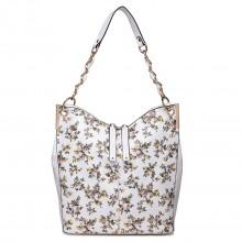LT1741 WE - Miss Lulu Oilcloth Coated Canvas Shoulder Bag White