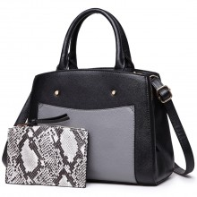 LT1747 BK - Miss Lulu Front Pocket Tote Handbags with Purse Black