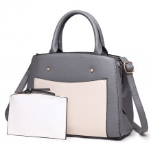 LT1747 GY - Miss Lulu Front Pocket Tote Handbags with Purse Grey
