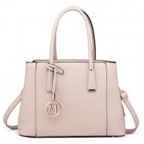 LT1748 BG - Miss Lulu Multi-Compartment Shoulder Handbags Beige