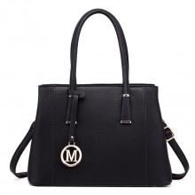 LT1748 BK - Miss Lulu Multi-Compartment Large Handbags Black