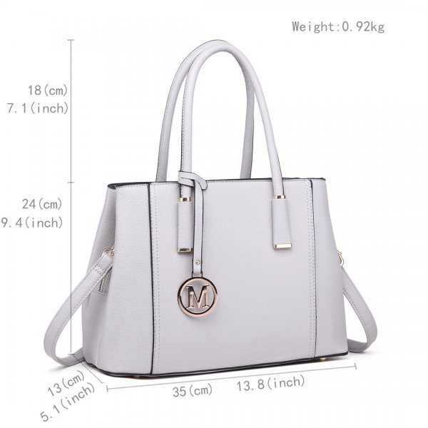 LT1748 LGY - Miss Lulu Multi-Compartment Large Handbags Light Grey