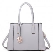 LT1748 LGY - Miss Lulu Multi-Compartment Shoulder Handbags Light Grey
