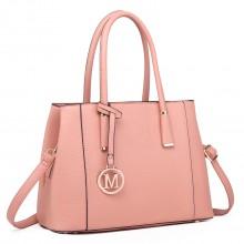LT1748 PK - Miss Lulu Multi-Compartment Large Handbags Pink